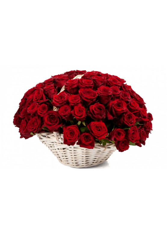 101 красная роза Ред Наоми в корзине