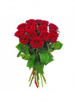 15 красных роз Ред Наоми (Red Naomi) 60см
