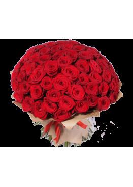 63 красных роз Ред Наоми (Red Naomi) 40см