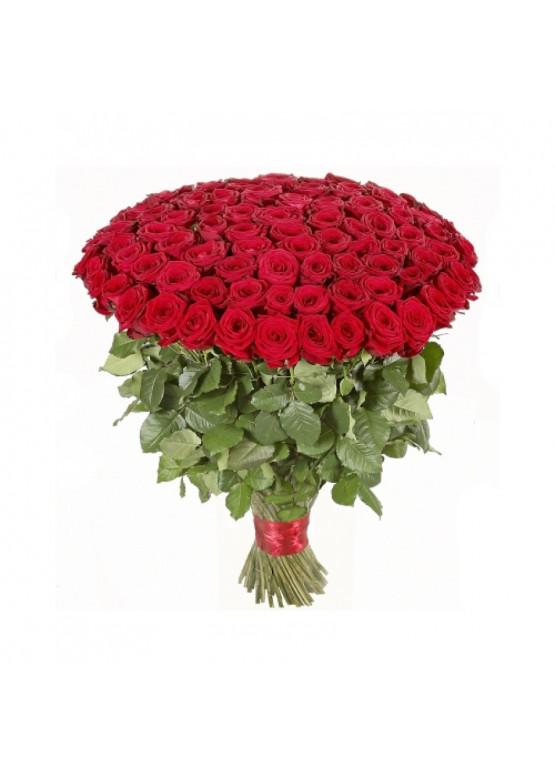 85 красных роз Ред Наоми (Red Naomi) 40см