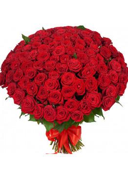 87 красных роз Ред Наоми (Red Naomi) 40см