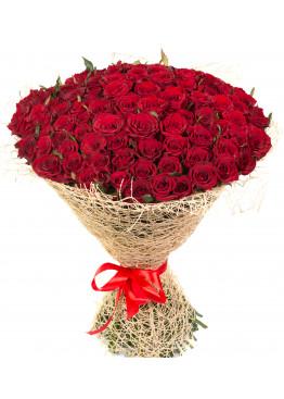 93 красных роз Ред Наоми (Red Naomi) 50см