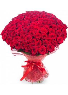99 красных роз Ред Наоми (Red Naomi) 40см
