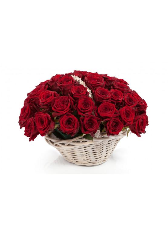 51 красная роза Ред Наоми в корзине